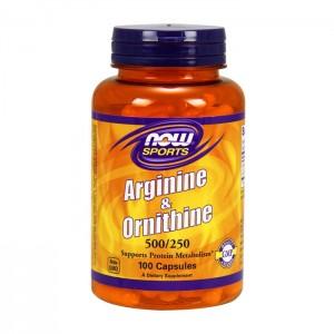 NOW Foods Arginine/Ornithine 500/250 мг. 100 капсули