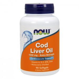 NOW Foods Cod Liver Oil / Рибено масло от черен дроб на треска 1000 мг. 90 софтгел капсули