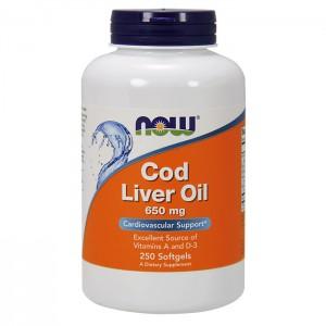 NOW Foods Cod Liver Oil / Рибено масло от черен дроб на треска 650 мг. 250 софтгел капсули