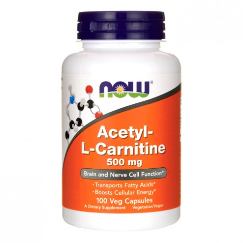 NOW Foods Acetyl L-Carnitine / Ацетил L-карнитин 500 мг. 100 вегетариански капсули