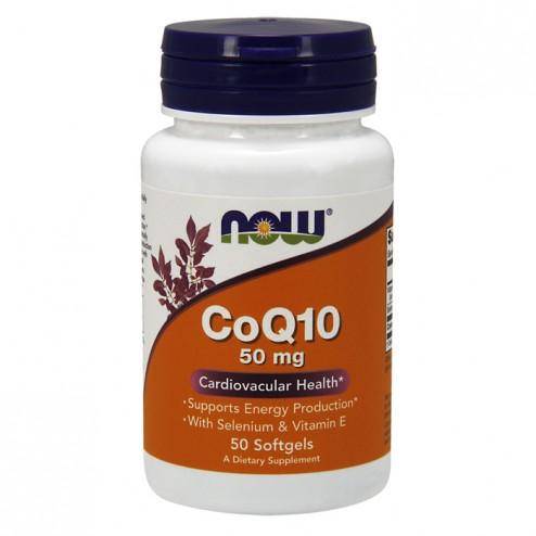 NOW Foods CoQ10 with Selenium & Vitamin E / Коензим Q10, селен и витамин Е 50 мг. 50 дражета