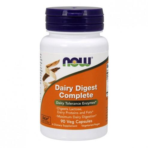 NOW Foods Dairy Digest Complete / Ензими за храносмилане на млечни продукти – Лактаза, протеаза, липаза 90 вегетариански капсули