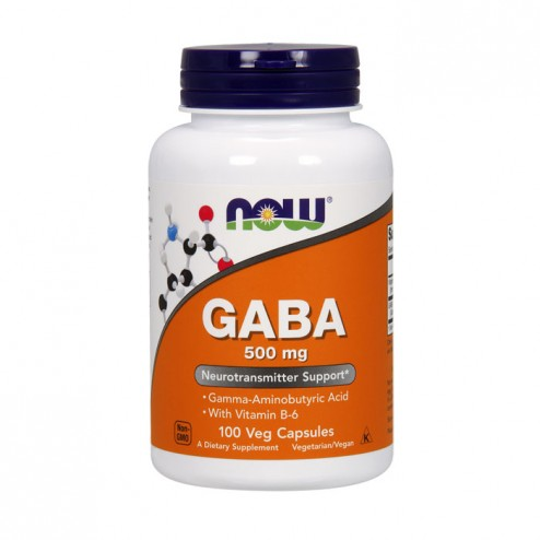 NOW Foods GABA 500 mg + B-6 2 mg / Гама аминобутирична киселина и витамин В6 100 капсули
