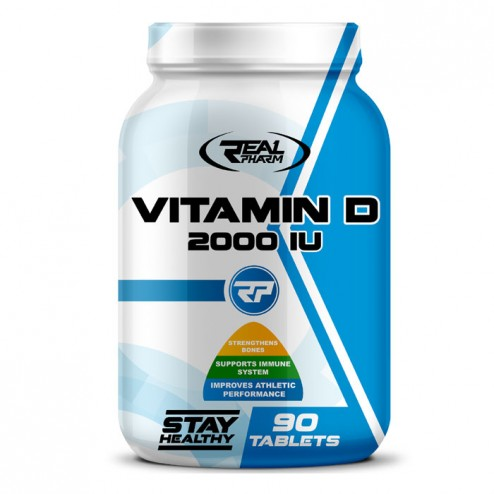 Real Pharm Vitamin D 2000 IU / Витамин D + Витамин К 450 мг. 90 таблетки (90 дози)