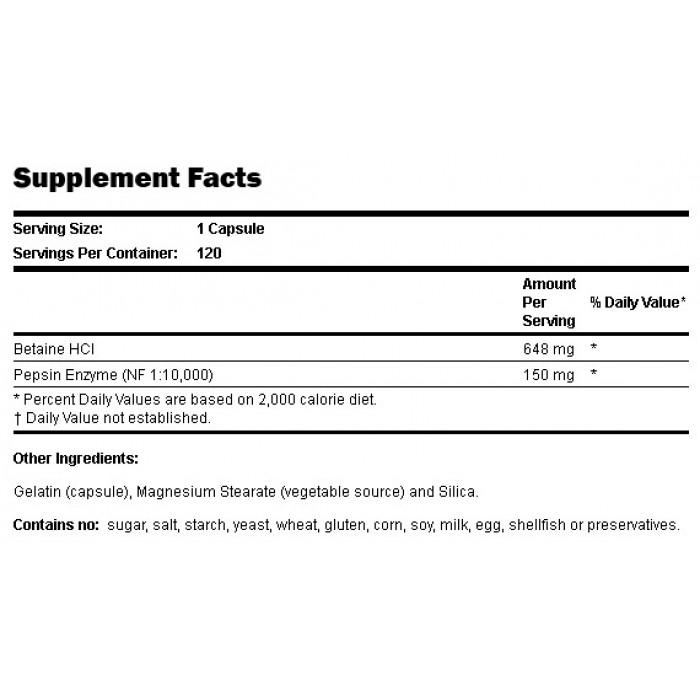 Резултат с изображение за NOW FOODS Betaine HCl 648 mg