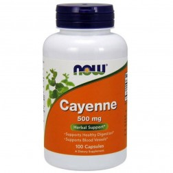 NOW Foods Cayenne / Лют червен пипер Кайен 500 мг. 100 капсули