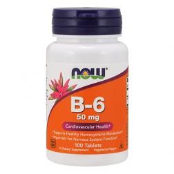 NOW Foods B-6 / Витамин В6 50 мг. 100 таблетки (100 дози)
