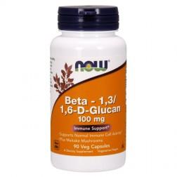 NOW Foods Beta 1,3/1,6-D-Glucan / Бета-глюкан (Бета 1,3-1,6-D-глюкан) и майтаке 100 мг. 90 вегетариански капсули