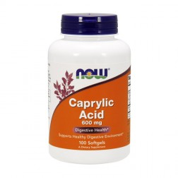NOW Foods Caprylic Acid / Каприлова киселина 600 мг. 100 дражета
