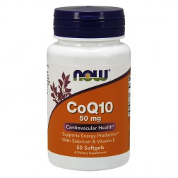 NOW Foods CoQ10 with Selenium & Vitamin E / Коензим Q10, селен и витамин Е 50 мг. 50 дражета