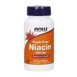 NOW Foods Flush-Free Niacin / Витамин В3 (ниацин) без зачервяване 250 мг. 90 вегетариански капсули