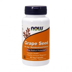 NOW Foods Grape Seed Antioxidant / Екстракт от гроздови семки с полифеноли 60 мг. 90 вегетариански капсули