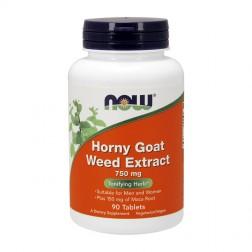 NOW Foods Horny Goat Weed Extract / Епимедиум (Разгонен козел) с мака 750 мг. 90 вегетариански таблетки